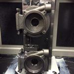 Machined parts mounted on tombstone.Doosan HP 4000 Horizontal Machining Center